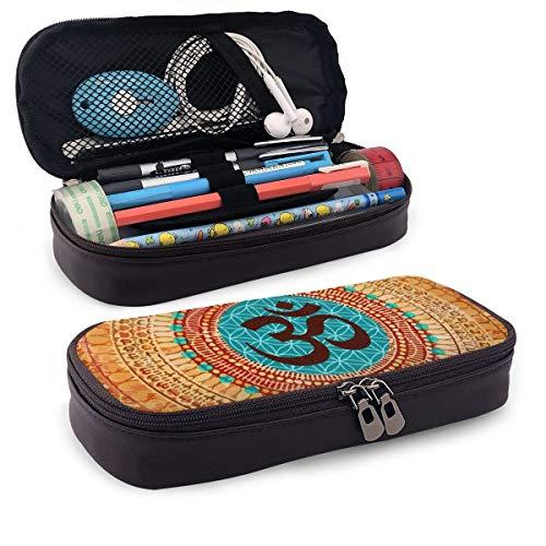 Estuche de gran capacidad de almacenamiento de poliéster para lápices, bolígrafos, marcadores de escritorio, organizador con cremallera para la escuela, oficina, boho, diseño de mandala indio
