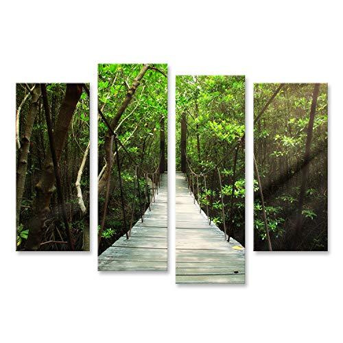 bilderfelix Cuadro Cuadros Puente Colgante en el Bosque Fotografia HD Tela en Lienzo MZN