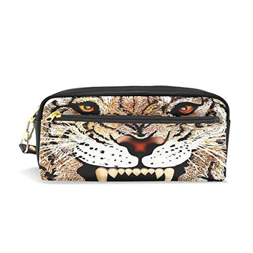 Trousse, tête de tigre Animal Imprimé Voyage Maquillage Pouch Grande capacité étanche Cuir 2 compartiments pour filles garçons femmes Hommes