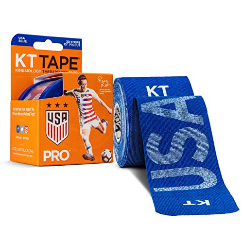 KT Tape Pro Synthetic Kinesiology Sports Tape, Water Resistant and Breathable, 20 Precut 10 Inch Strips, USWNT Rose Lavelle USA Edition, Sonic Blue
