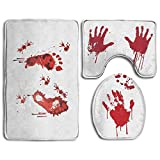 Yilooom Bath Mat,3 Piece Bathroom Rug Set,Funny Bloody Horror Halloween Theme Non Slip Toilet Seat Cover Set,Large Contour Mat,Lid Cover for Men/Women