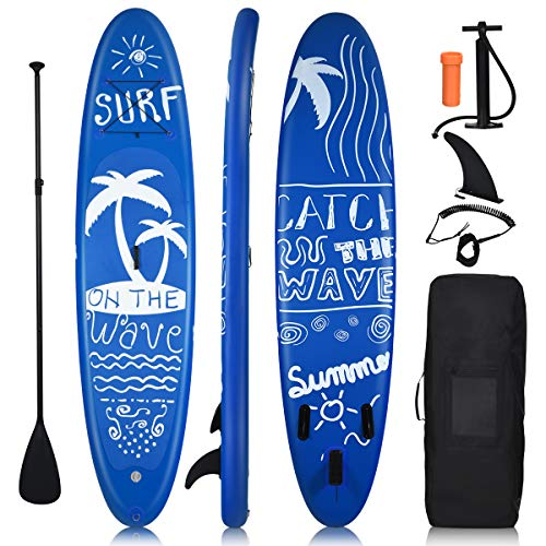 "Goplus Inflatable Stand Up Paddle Board, 6.5"" Thick SUP with Premium Accessories and Carry Bag, Wide Stance, Bottom Fin for Paddling, Surf Control, Non-Slip Deck, for Youth and Adult"