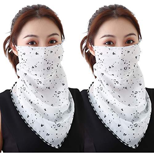 Xniral 2er Pack Gesichtsschal mit Ohrhaken Chiffon Schlauchschal Atmungsaktiv Mundschutz Halstuch Elegant Erwachsene UV+ mit Insect Shield Multifunktionstuch(F)