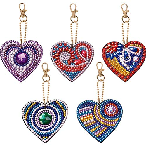 kuou 5Pcs 5D DIY Diamond Painting Keychains for Adults, Love Heart Full Drill Crystal Rhinestone Key Rings Full Kit for Women Girls Phone, Bag, Home Wall Decor