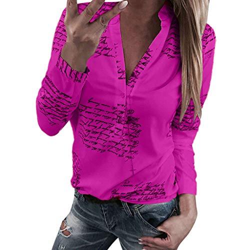 Blouse für Frauen/Dorical Damen Bluse Langarm V-Ausschnitt Elegant Blumen Hemd Casual Oberteile Tops,Sweatshirt Langarmshirt Lose Hemd Tunika,Größe S-XL Sale(Z01-Hotpink,Large)
