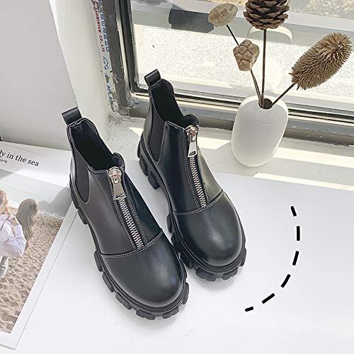 MASAP Botas desnudas Martin Boots Mujer Estilo británico Otoño e Invierno Zapatos de Plataforma de Suela Gruesa Cremallera Delantera Tubo Corto Botas Cortas