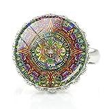 Calendario maya anillos chakra geometría sagrada azteca sol maya astronomía arqueología flor joyería fiesta regalo
