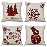 Christmas Pillow Covers Set of 4 Red Plaid Decorative Merry Christmas Snowman Throw Pillow Cases Cushion Covers 18 x 18 inch Holiday Square Pillowcases