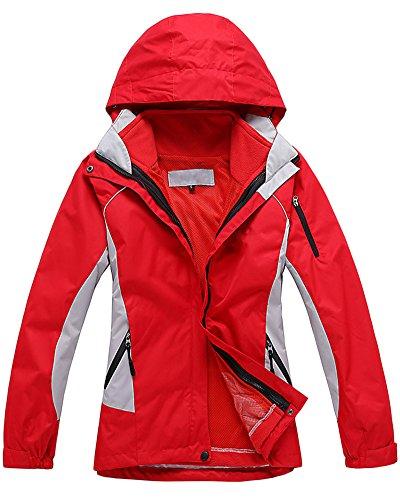 Qitun Mujer Chaqueta de Esquí Chubasqueros Al Aire Libre Impermeable con Capucha de Nieve Capa Excursionismo Chaquetas