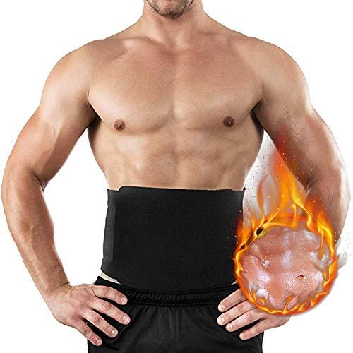 Vertvie Herren Bauchweggürtel - Bauch-und Rückenstützgürtel - Hot Belt – Schwitzgürtel – Waist Trimmer -Abnehmen mit dem Fitnessgürtel Klettverschluss Neopren (6XL, Schwarz)