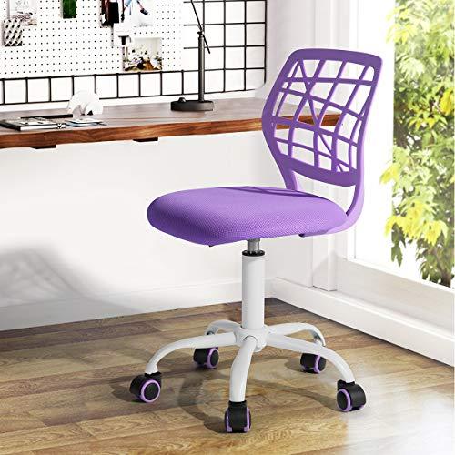 Fanilife Chaise de bureau design réglable enfants ordinateur de bureau tâche Chaise pivotante sans accoudoirs enfant Étude Chaise Violet