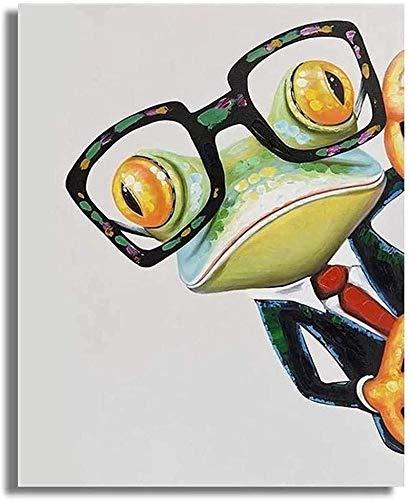 GKZJ Impresión de Arte de Pared Rana con Gafas Impresión de Lienzo Animales Arte de la Pared Pintura Imágenes Postesrs Decoración para Sala de Estar 40x60cm sin Marco