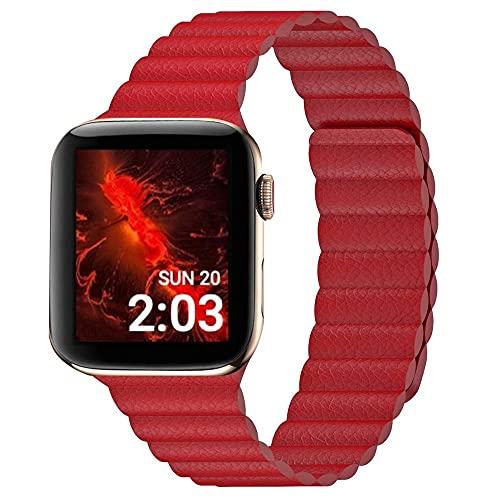 Hspcam Correa de cuero para Apple Watch Band 44mm 40mm para iWatch Series 6 SE 5 4 3 2 1 pulseras de 42mm 38mm (para 38MM y 40MM), color rojo