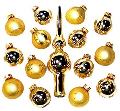 Kurt Adler Set of 15 Gold Mini Glass Ball Christmas Ornaments and Finial Tree Topper