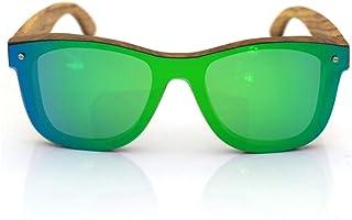 WWKDM - WWKDM1 Gafas de Sol UV400 Gafas de Sol de bambú Verde Una Lente Gafas de Sol de Tendencia para Mujer Planas para Hombre