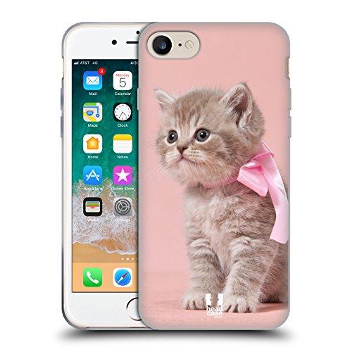 Head Case Designs Gattino con Arco Rosa Gatti Cover in Morbido Gel e Sfondo di Design Abbinato Compatibile con Apple iPhone 7 / iPhone 8 / iPhone SE 2020