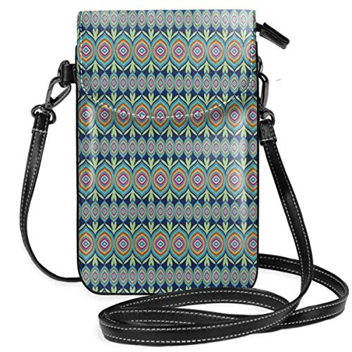 Women Small Cell Phone Purse Crossbody,Abstract African Shapes With Colorful Lines And Green Leaf Motifs On Blue Background