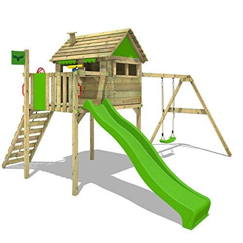 Fatmoose Speeltoestel voor tuin FunFactory Fit XXL met schommel en appelgroene glijbaan, Houten speeltuig, Klimtoestel voor buiten met klimladder voor kinderen
