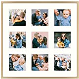 Frametory, 16x16 Gold Aluminum Picture Frame - Matted for Nine 4x4 Pictures - Square Collage Photograph Frame - Wall Display - Inspirational Prints, Quotes, and Dream Frame Ideas