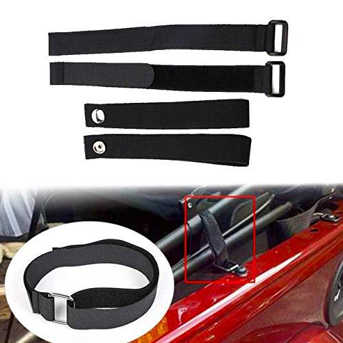 ALAVENTE 4 Pcs Durable Tie Down Sunrider Straps for Jeep Wrangler 2007-2019, Soft Top Straps & Window Roll Up Snap Straps, Black