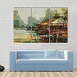 WERSD Moderno Cuadro En Lienzo 3 Piezas Pintura Marina Que Muestra Antiguo Pueblo Pesquero, Estilo Acuarela HD Poster Pictures Paintings Home Decor Impresión Artística Fotográfico Regalo