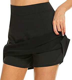 Women's Athletic Skorts, Lightweight Active Skirts, Running Tennis Golf Skorts with Pocket Workout Pleated Anti-Chafing Br...