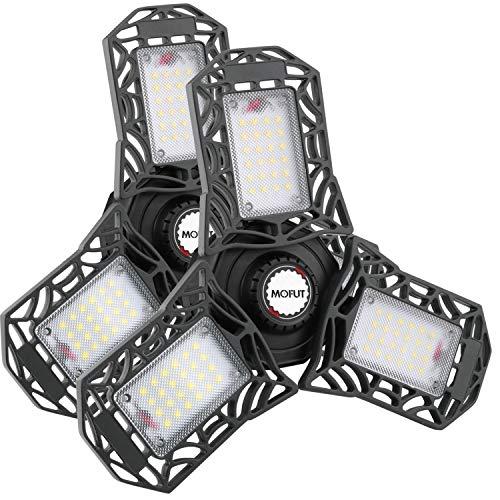 LED Garage Lights, 2 Pack LED Garage Ceiling Lights 6000LM Garage Lighting, Deformable LED Garage Light Bulbs, Support E26 Screw Socket LED Shop Lights for Garage, Lamp Sets, etc (No Motion Detection)
