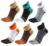 Men Toe Socks No Show Low Cut Split Toe 5 Finger Cotton Athletic Wicking 6 Pack