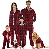 Womens Christmas Pajamas, Flannel Buffalo Plaid Pajamas Pants Tops Sets Button Up Sleepwear Red M