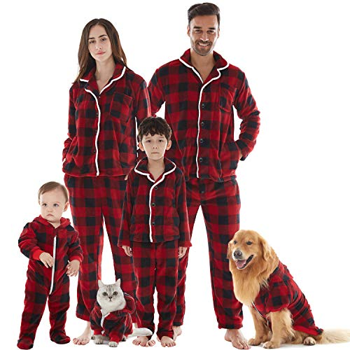Cat Dog and Owner Matching Pajamas, Drop Seat Buffalo Plaid Holiday Xmas Pajamas for Family Red X-Large