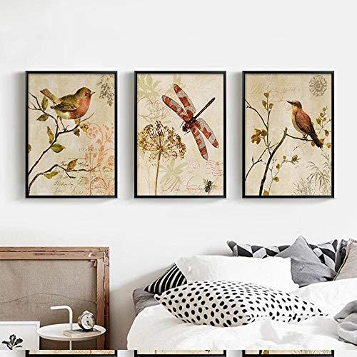 LLXXD Tríptico de la Vendimia Pájaros de la Acuarela en la Pintura de la Lona del árbol Póster de la impresión del Arte Imagen de la Pared del Animal Decoración del hogar 30x40cmx3 (sin Marco)