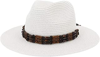 SHENTIANWEI Summer Women Beach Straw Sun Hat Retro Ethnic Sunshine Wide Beads Knit Belt Edge Weave Beach Floppy Hat Wheat Straw Hat