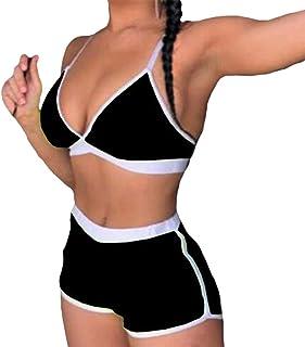 a41ea303046468 Hongxin Damen Bikini Set Split Bademode Spleiß Farbe Badeanzug Sexy  V-Ausschnitt Schlinge Swimwear Strandkleidung