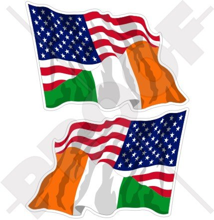 Lot de 2 autocollants en vinyle pour pare-chocs Motif drapeau américain et irlandais 75 mm