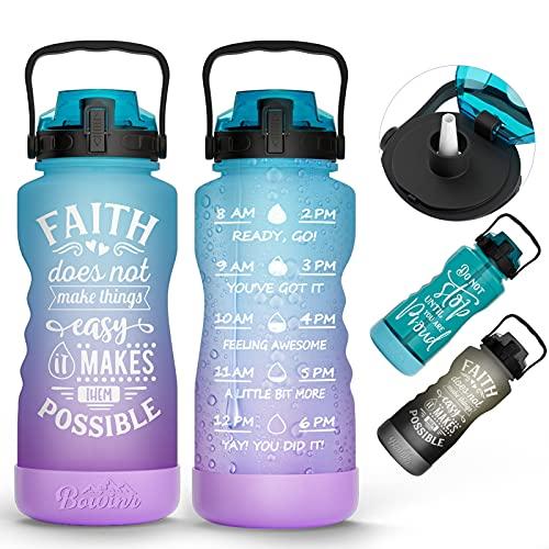 Skisneostype Botella de 2.2 litros, libre de BPA, botella de agua de Tritán con marcas de tiempo, botella de agua para bicicleta, botella de deporte a prueba de fugas para fitness, escuela