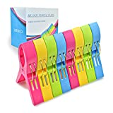 JABINCO Beach Towel Clips Chair Clips Towel Holder,Plastic Clothes Pegs Hanging Clip Clamps (Pack of 8)