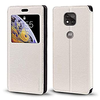 Motorola Moto G Power 2021 Case Wood Grain Leather Case with Card Holder and Window Magnetic Flip Cover for Motorola Moto G Power 2021