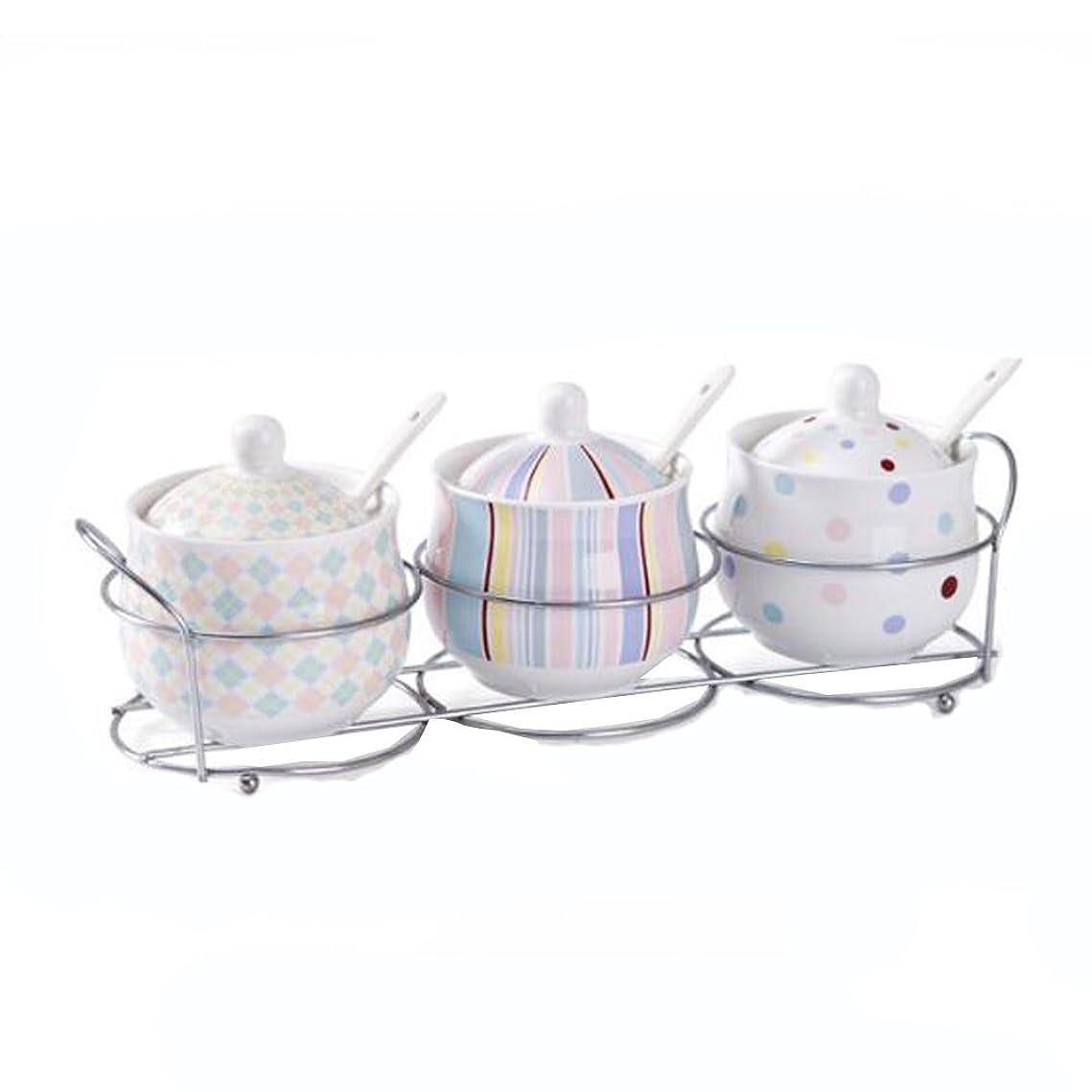 舌なに沿って眠り家庭用キッチン用蓋付きスパイスジャー3本セット陶器収納缶
