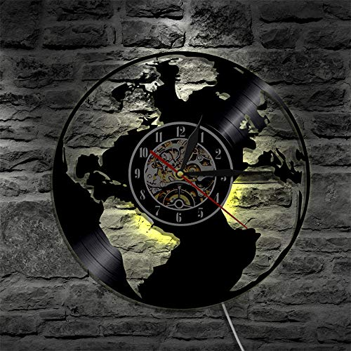 LTOOD Save The Earth World Map Reloj de Pared Decoración de...