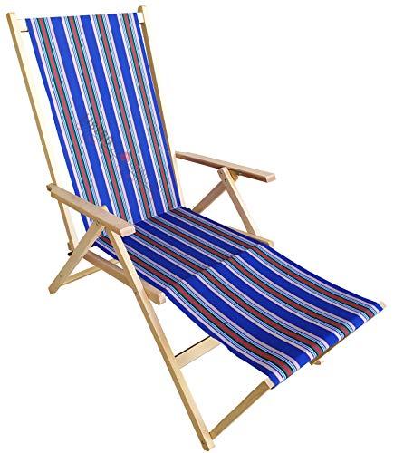 Sdraio PRENDISOLE spiaggina in legno con prolunga POGGIAPIEDI reclinabile 2 posizioni (Fantasia Viola)