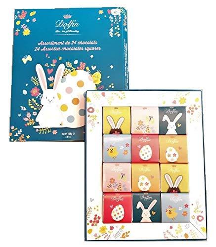Dolfin Assortimento di 24 Cioccolatini Carrè Stampa Pasqua in Confezione Regalo Made in Belgio - 1 x 108 Grammi