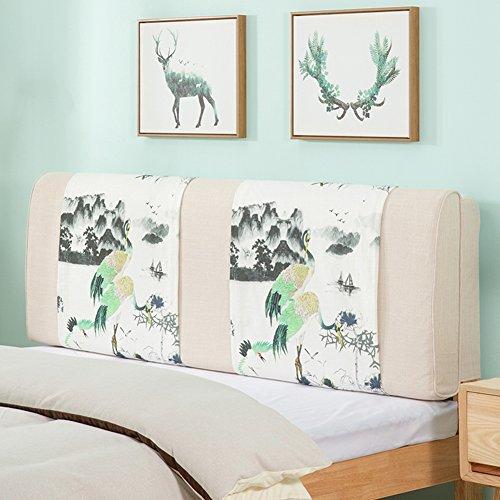 QIANDA Ryggstöd kudde med headboard lin stor kudde anti-kollision huvud tvättbar för dubbelsäng se på 3 stilar, 7 storlekar valfritt (Color : 2#, Size : 190 x 10 x 58cm)