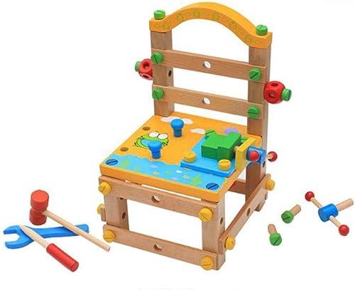 QHWJ Kinder aus Holz Montage Spielzeug, Cartoon Multi-Funktions-Demontage Werkzeug Stuhl Kinder DIY praktische F gkeit Kombination Spielzeug