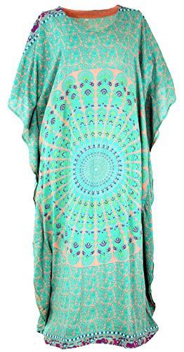 Guru-Shop, Poncho Jurk, Caftan, Maxi Jurk, Groen, Synthetisch, Size:One Size, Lange Midi-jurken
