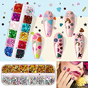 1600pcs Nail Art Stickers Nail Art Sequins Nails Decorations Supply Manicure Tips Accessories,Leaf Nail Decals,Nail Glitter