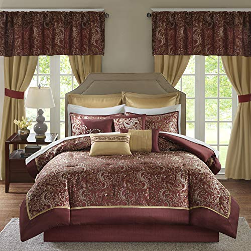 """Madison Park Essentials Brystol 24 Piece Room in a Bag Faux Silk Comforter Jacquard Paisley Design Matching Curtains Down Alternative Hypoallergenic All Season Bedding-Set, Queen(90""""x90""""), Red"""