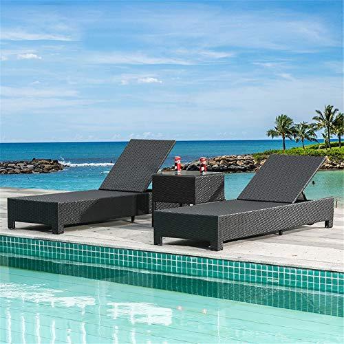 WSN Silla de Playa Plegable de 2 Piezas, Cama de ratán con balcón Ajustable con Mesa de Centro de 1 Pieza para Piscina al Aire Libre Playa Ocio