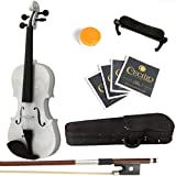 Mendini 1/4 MV-White Solid Wood Violin with Hard Case, Shoulder Rest, Bow, Rosin and Extra Strings