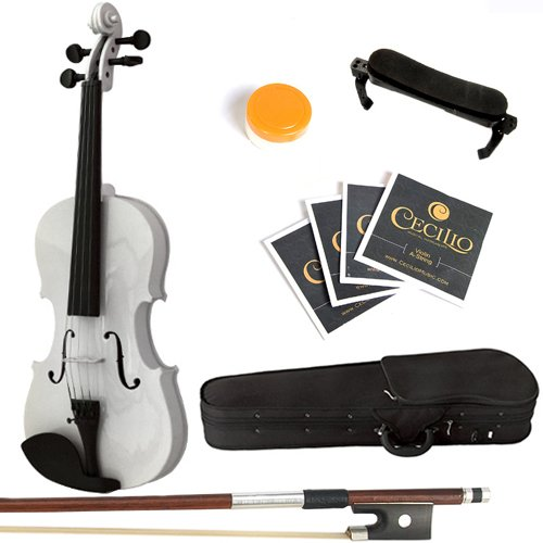 Mendini By Cecilio Solid Wood Violin 1/2 Size White Starter Kit w/Extra Strings Hard Case Rosin Bow  Stringed Musical Instruments For Kids amp Adults