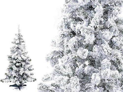 Pinetto Innevato Verde 90 cm Albero di Natale Floccato Super FOLTO in PP+PVC | Mini Pino Alberello di Natale Artificiale con Base in plastica 90 Rami Floccato